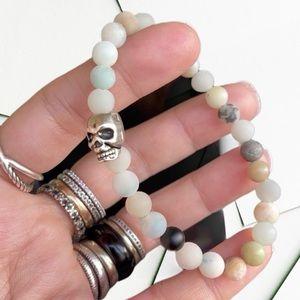 🔴Sale ! Amazonite beads 6mm silver skull bracelet
